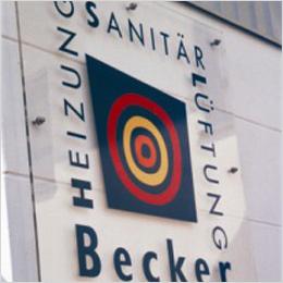 Transparent: Werbeschild für Becker